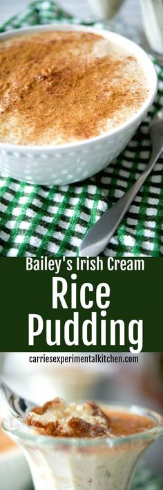 Bailey's Irish Cream Rice Pudding has a deliciously creamy, nutty flavor and makes a tasty dessert the entire family will love. Bailey's Irish Cream Rice Pudding has a deliciously creamy, nutty flavor and makes a tasty dessert the entire family will love. Irish Desserts, Desserts Keto, Sweet Desserts, Delicious Desserts, Yummy Food, Asian Desserts, Rice Recipes For Dinner, Snack Recipes, Dessert Recipes