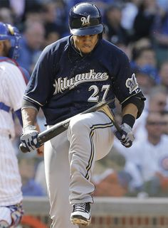 Milwaukee #Brewers outfielder Carlos Gomez shows some serious frustration #MLB