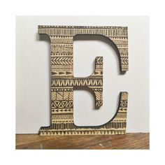 Decorative Wall Letter E Wood Tribal Geometric Pattern Print Home Decor Gallery Wall Nursery by MissouriHeartsCo on Etsy