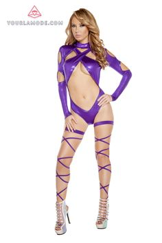 Roma Womens Ravewear Festival Sheer-Metallic Mesh Hooded Longsleeve Catsuit