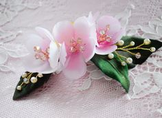 Cherry Flowers Haircomb Blush Pink Bridal hair by JanaRoyaleDesign