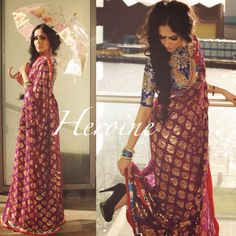 ' HEROINE' This 1920s inspired vintage Saree has been hand block printed in gold foil. The base of the Saree is dark Aubergine which takes on the rustic gold print beautifully! I have teamed it with an indigo blue floral blouse but it will equally look good with my new Durga blouse if you are looking for a bold twist! This is classic, sexy, naughty and timeless all in one. For purchase enquires email me at ayushk@hotmail.co.uk or whats app me on 00447840384707. We ship WORLDWIDE…