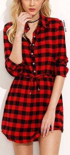 Red Plaid Drawstring Waist Shirt Dress... - Street Fashion