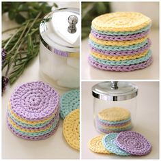 EASY FREE PATTERN - Save the environment and add a homemade touch with this quick and easy pattern for reusable crochet face scrubbies. These washable cotton face cleansing pads are great for removing makeup and can be made up in less than half an hour. Crochet Kitchen, Crochet Home, Knit Or Crochet, Learn To Crochet, Thread Crochet, Crochet Gratis, Free Crochet, Easy Crochet, Crochet Scrubbies
