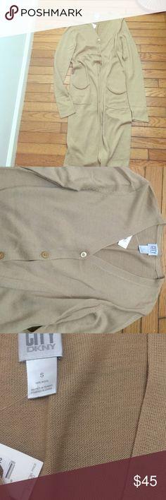Lange strickjacke khaki