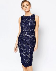 Coast+Phillipa+Artwork+Lace+Midi+Dress+in+Navy