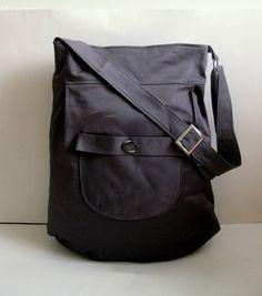 Grey messenger canvas shoulder bag