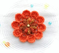 HAND CROCHET FLOWER BROOCH APPLIQUE BURNT ORANGE WOOL ACRYLIC FLOWER | eBay