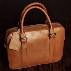 Brown leather briefcase.