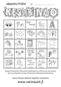 Kesä - Värinautit Summer Schedule, Kids Schedule, Teaching Biology, Teaching Tips, Pre School, Back To School, Early Education, Summer Crafts, Bingo