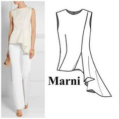 I love how marni use seams in their designs for shaping and draping this top folds like frosting beautiful marni technicaldrawing ontrend illustration fashion design drawing Fashion 2017, Look Fashion, Fashion Dresses, Fashion Trends, Young Fashion, Dress Sewing Patterns, Clothing Patterns, Sewing Clothes, Diy Clothes