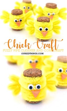 Fuzzy Pipe Cleaner and Cork Chick Craft Easter spring chickcraft corkcraft kidscraft kidcrafts 214343263502896964 Bunny Crafts, Easter Crafts For Kids, Spring Crafts, Holiday Crafts, Pipe Cleaner Crafts, Pipe Cleaners, Wine Cork Crafts, Crafts For Kids To Make, Wine Corks