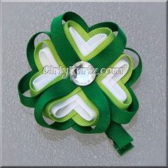 Lucky 4 Leaf Clover Hair Clip Shamrock Hair Clip Ribbon Sculpture. $8.00, via Etsy.