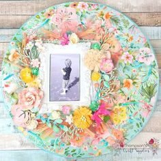 worked on a circle canvas using the July kits from Thompsons craft supplies designed by dt Sarah. Circle Canvas, Scrapbook Pages, Scrapbook Layouts, Altered Art, Layout Design, Craft Supplies, Mixed Media, Crafty, Frame