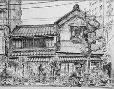 Artist - Itsuo Kiritani   Title - Cosmetics Store, Negishi(小間物屋、根岸)   Dimensions - (21.9cm x 28.4cm)   Year - 1999  Media - Pen and Ink on Paper   Exhibition - ANA InterContinental Tokyo  Nov. 9, 2015 - Feb. 9, 2016      Inquiry