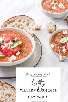 A deliciously and refreshing gazpacho with watermelon,dill, feta and cucumber–perfect for a hot summer day!   The Nourished Mind Fruit And Veg, Fruits And Veggies, Meal Planning Board, A Food, Good Food, Whole Food Recipes, Healthy Recipes, Food Website