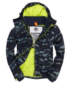 Mens - Technical Windcheater in Blue Camo/fluro Yellow | Superdry