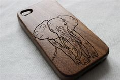 iphone 5s case Wood iphone 5 case Engraved elephant by Janecases