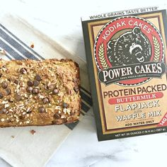 This protein packed, low sugar Chocolate Chip Zucchini Bread made with Kodiak Cakes mix is the perfect way to satisfy your sweet tooth in a healthier way! Kodiak Cake Muffins, Kodiak Pancakes, Protein Bread, Protein Foods, Protein Recipes, Protein Bars, Protein Muffins, Protein Cookies, Healthy Recipes