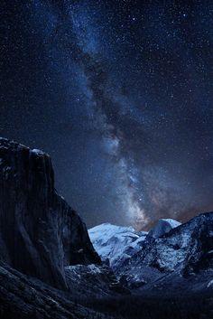 Half Dome, Yosemite Valley, California and Milky Way.