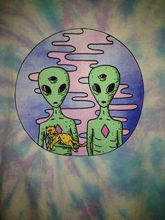 Trippy Alien Cats Tie Dye T Shirt // Hippie Festival #Handmade # ...