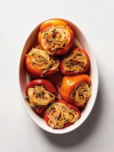 spaghetti stuffed roasted peppers
