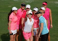 LPGA players Jessica Korda, Gerina Piller, Cristie Kerr, Paula Creamer, Morgan Pressel, Annika Sorenstam, Brittany Lincicome and Lexi Thompson pose for a selfie together on the practice ground during the Morgan & Friends event at St Andrews Country Club on January 5, 2015 in Boca Raton, Florida