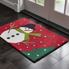 Snow Day 2'x3' Snowman Rug   Crate and Barrel
