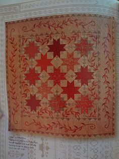 Blackbird design - such a soft, vintage feel-Love the faded reds and the applique  puts this quilt over the top