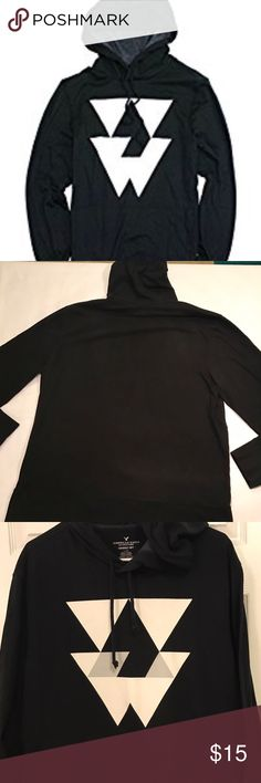 Men's American Eagle T shirt Hoodie Men's American Eagle Long Sleeve T shirt hoodie, Size Large, Soft cotton jersey; Classic Fit; Drawstring hood; Front kangaroo pocket; Banded cuffs and hem; Tagless comfort; Like New. American Eagle Outfitters Shirts Sweatshirts & Hoodies