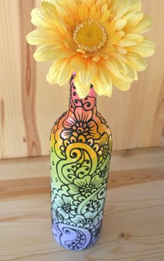 Pastel Rainbow Colored Hand Painted Wine Bottle Vase by LucentJane