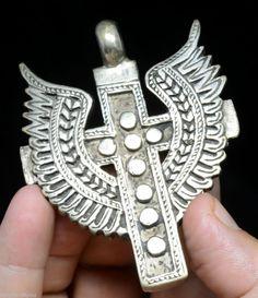 Quality Huge Orthodox Ethiopian Coptic Cross Jewelry Silver Pendant African  #HandmadeEthinctribal