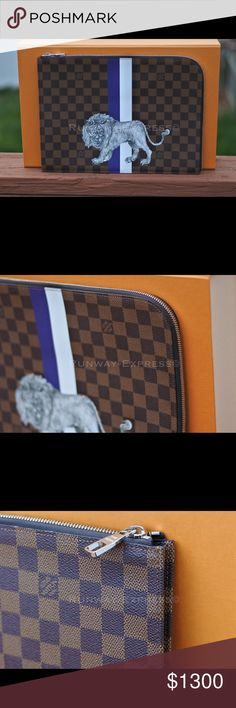 Louis Vuitton POCHETTE JOUR GM N63345 Illustre 100% Authentic Rare Hard Find  Does not include iPad Pro or Mac book    Fashioned in Damier Ebène coated canvas decorated with an exclusive Chapman Brothers illustration of a lion, this clutch is for the modern man looking for a fashionable portfolio with which to transport documents and other daily essentials  34.0 x 25.0 cm  ( length  x height )  - Damier Ebène coated canvas exterior - Textile / Cowhide leather lining - Silver coloured Louis…