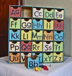 Great way to store all the random trinkets they end up with Crafty Fun: ABC Sorting Box - Kindergarten Kindergarten Alphabet Activities, Activities For Kids, Preschool Alphabet, Kindergarten Literacy, Early Literacy, Activity Centers, Activity Box, Classroom Organization, Infant Activities