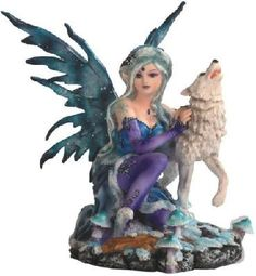 Blue Tundra Fairy Kneeling with White Howling Wolf Figurine