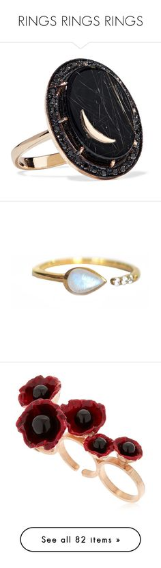 """""""RINGS RINGS RINGS"""" by elsinoreatmidnight ❤ liked on Polyvore featuring jewelry, rings, accessories, multi stone ring, 14 karat ring, 14k ring, 14k jewelry, 14 karat gold ring, gold and hand crafted jewelry"""