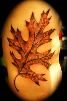 Leaf tattoos can represent one's journey and the cycle of life. Learn about leaf tattoos, leaf tattoo meanings, leaf tattoo ideas, and view dozens of leaf tattoo designs. Tree Sleeve Tattoo, Oak Tree Tattoo, Sleeve Tattoos, Tree Tattoos, Tatoos, Stand Tall Tattoo, Tattoo Blog, I Tattoo, Oak Leaf Tattoos