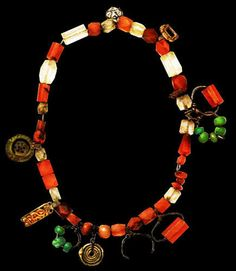 Volga 9th Century Treasure Crystal and Carnelian Necklace with Ornaments
