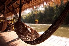River Kwai, Thailand, hammock by the water.