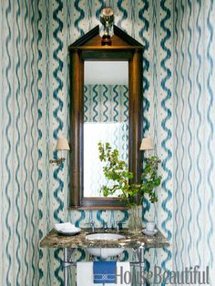 Powder room wallpaper in Pierre Frey's Toiles de Nantes. Design: Alex Hitz. housebeautiful.com. #wallpaper #powder_room #ikat