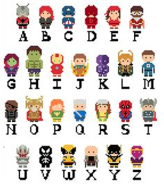 Marvel: Mini Marvel Alphabet (Including- Avengers, X-Men, Spider-man, and Guardians Characters) PDF Pattern by Shylah Addante Hama Beads Patterns, Beading Patterns, Beaded Cross Stitch, Cross Stitch Embroidery, Cross Stitch Designs, Cross Stitch Patterns, Superhero Alphabet, Marvel Cross Stitch, Peler Beads