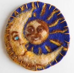Celestial sun and moon needle felted magnet with by Italianwench