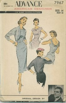 An unused original ca. 1950's Advance Pattern 7967.  American Designer Series:  Original Design by Luis Estevez of Grenelle.  Sheath, back-interest Jacket Dress…alongated fitted bodice ends in deep scallops all around.  Princess seams curve from sleeveless armholes.  Wide bateau neckline forms band across arm, becomes low scoop in back with pleating, self bow detail.  high walking pleat skirt center-back.  Optional dress lining, side zipper.  Contrast cut-away Jacket (lined) bloused back,..