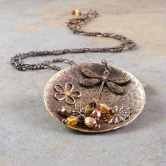 Dragonfly and Flower Brass Necklace