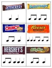 "Fun rhythm practice around Halloween - maybe make a simple song/chant and have each kid get a ""candy bar"" (index card with rhythm on one side and picture on other side) that they will say as a solo; match pictures/name with rhythms; many ideas!"