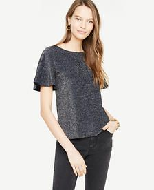 600787fc5f3 Shop Ann Taylor for effortless style and everyday elegance. Our Flutter  Sleeve Sparkle Top is the perfect piece to add to your closet.