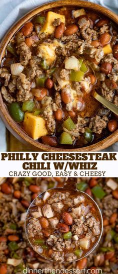 Philly Cheesesteak Chili made with butter seared ground beef, bell peppers. onions and classic chili flavors topped with provolone cheese. The perfect combination of classic Philly Cheesesteak flavors with your favorite Chili recipe! Chili Recipes, Crockpot Recipes, Soup Recipes, Cooking Recipes, Venison Recipes, Chowder Recipes, Rice Recipes, Recipes Dinner, Butter
