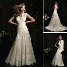 2013 Designer A Line Chapel train Sexy Deep V Neck Lace Wedding Dress 2013 Backless Keyhole Back WD2001
