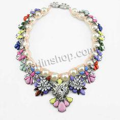 Zinklegierung Schmuck Halskette, mit Nylonschnur & Glasperlen & Harz, mit Strass, farbenfroh, frei von Nickel, Blei & Kadmium, 70mm, Länge:c...