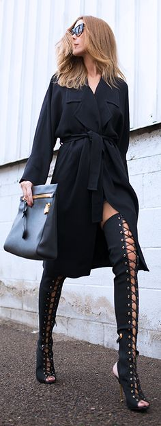 Split Lace Up Over-the-knee Boots by